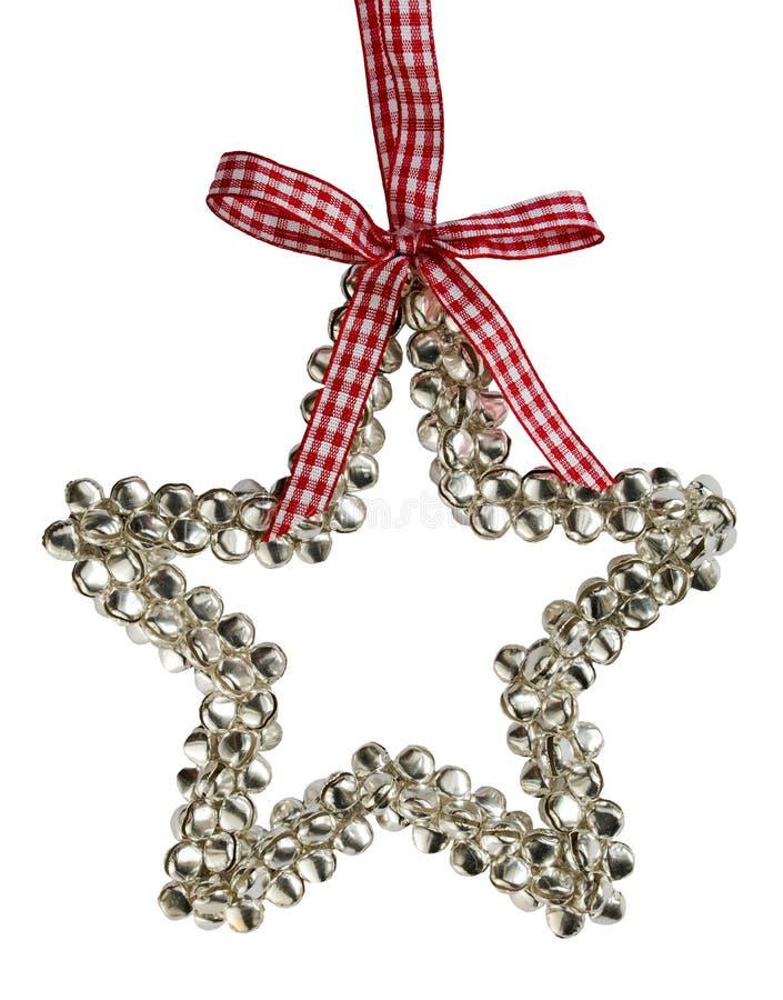 Decoração da estrela do Natal de Bels de prata fotos de stock royalty free