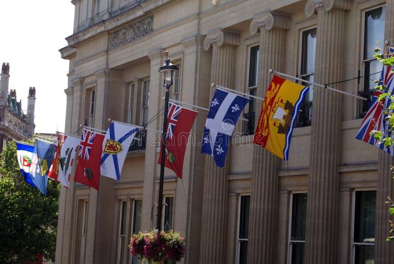 Decoração da fachada da casa de Canadá em Londres, Inglaterra imagem de stock royalty free