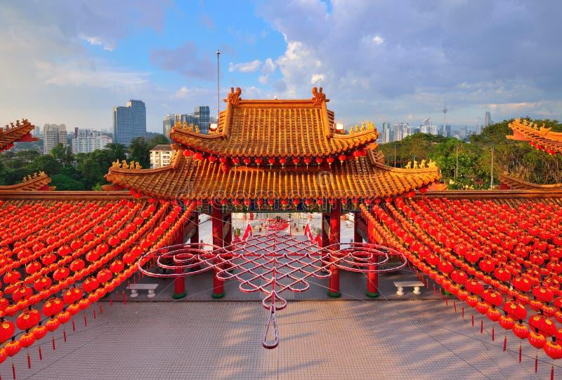 Decoração da lanterna no templo de Thean Hou fotografia de stock