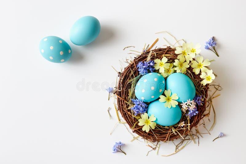 Decoração da Páscoa com ninho, ovos e flores da mola foto de stock royalty free