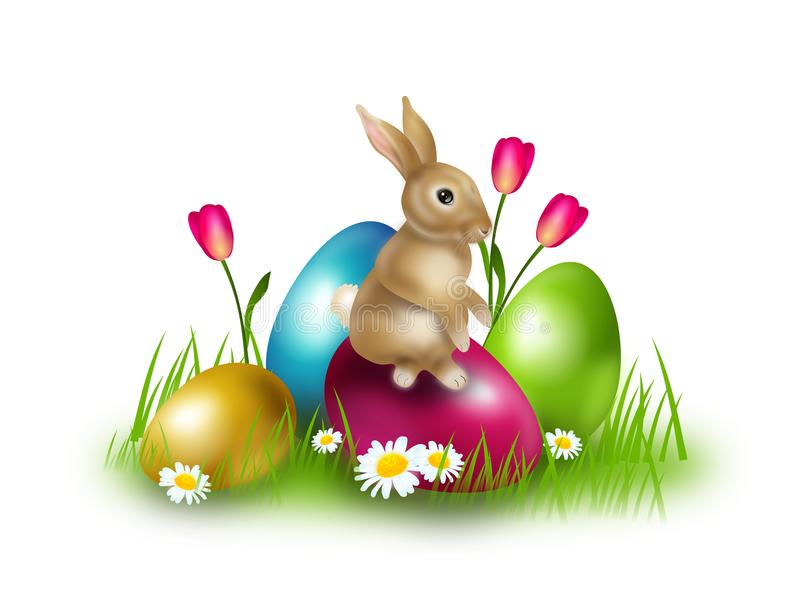 Decoração da Páscoa com ovos da páscoa e coelho ilustração stock