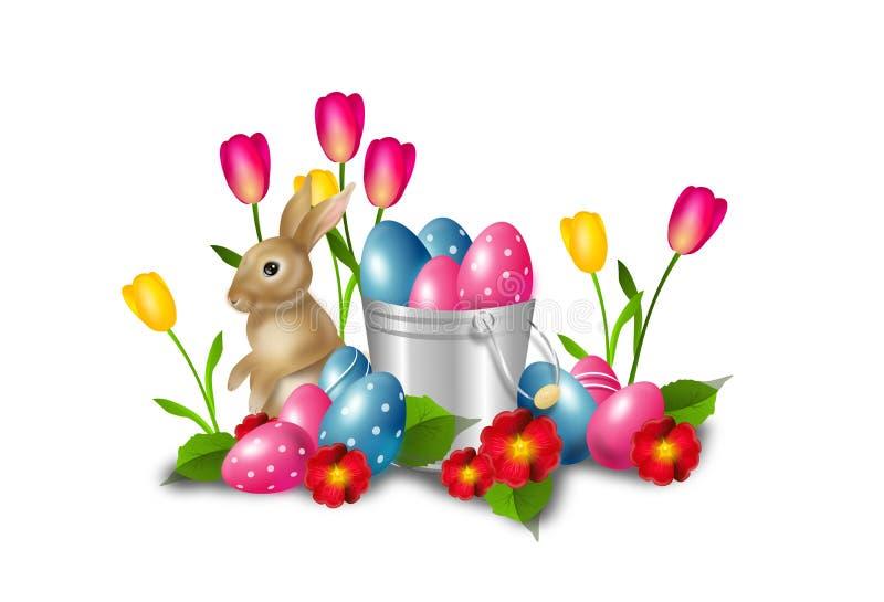 Decoração da Páscoa com ovos da páscoa e coelho ilustração royalty free