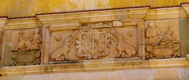 Decoração da parede em Cuilapam covent, México fotografia de stock royalty free