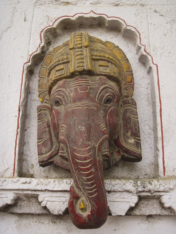 Decoração da parede exterior da cabeça do deus do elefante de Ganesh do hindu fotos de stock royalty free