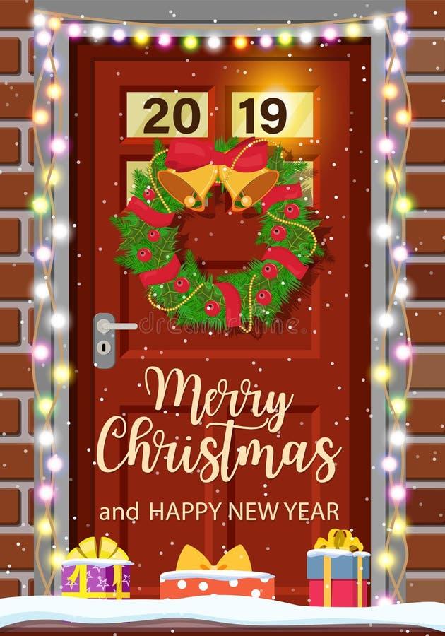 Decoração da porta do Natal ilustração royalty free