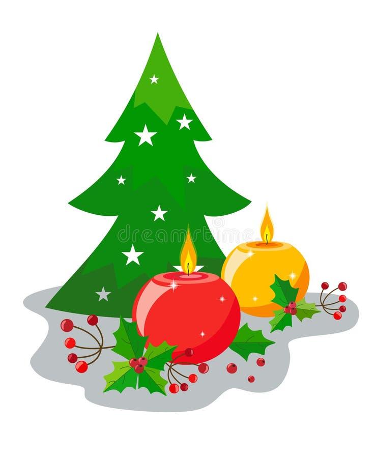Decoração da queimadura, de velas redondas, de folhas e de bagas do azevinho e das árvores de Natal do deco ao estilo do plano De ilustração stock