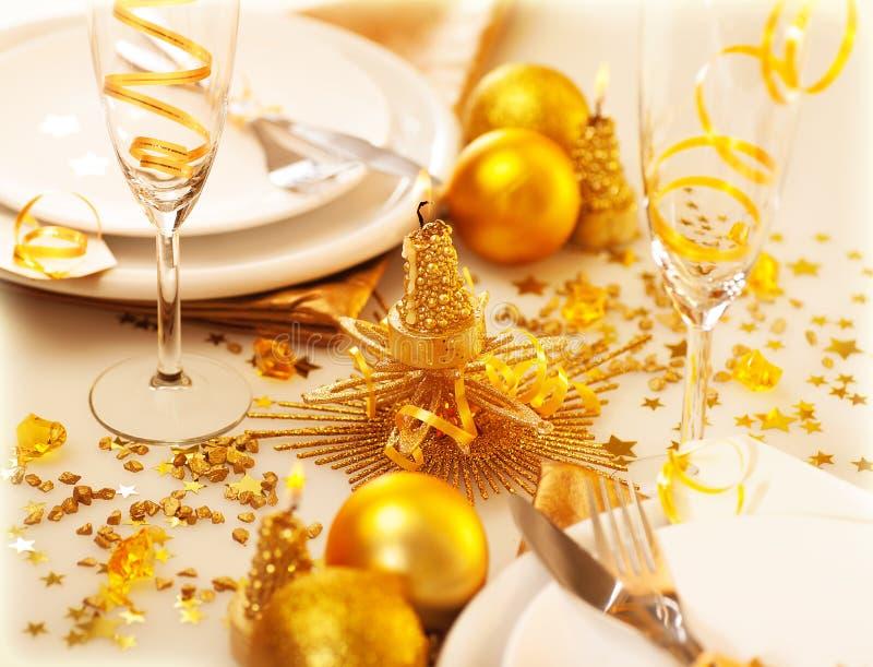 Decoração da tabela de Christmastime fotografia de stock royalty free