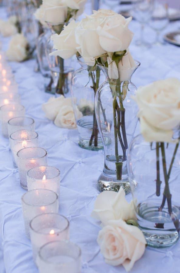 Decoração da tabela do casamento foto de stock