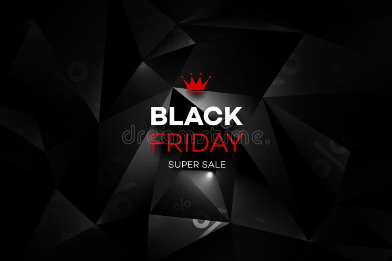 Decoração da venda de Black Friday com um fundo poligonal abstrato ilustração stock