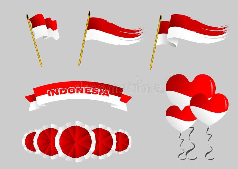 Decoração das bandeiras da independência de Indonésia para a celebração ilustração do vetor
