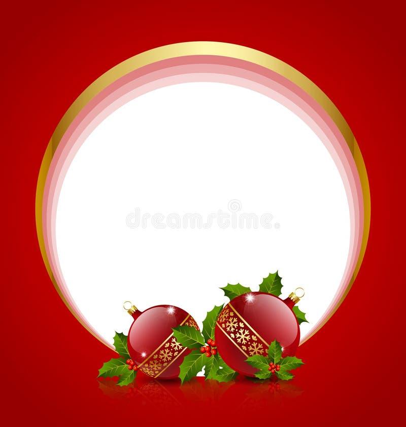 Decoração das bolas do Natal com azevinho ilustração do vetor
