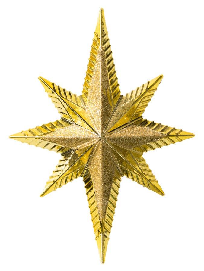 Decoração das estrelas douradas do Natal Isolada sobre fundo branco, decoração de brinquedos dourados imagens de stock royalty free