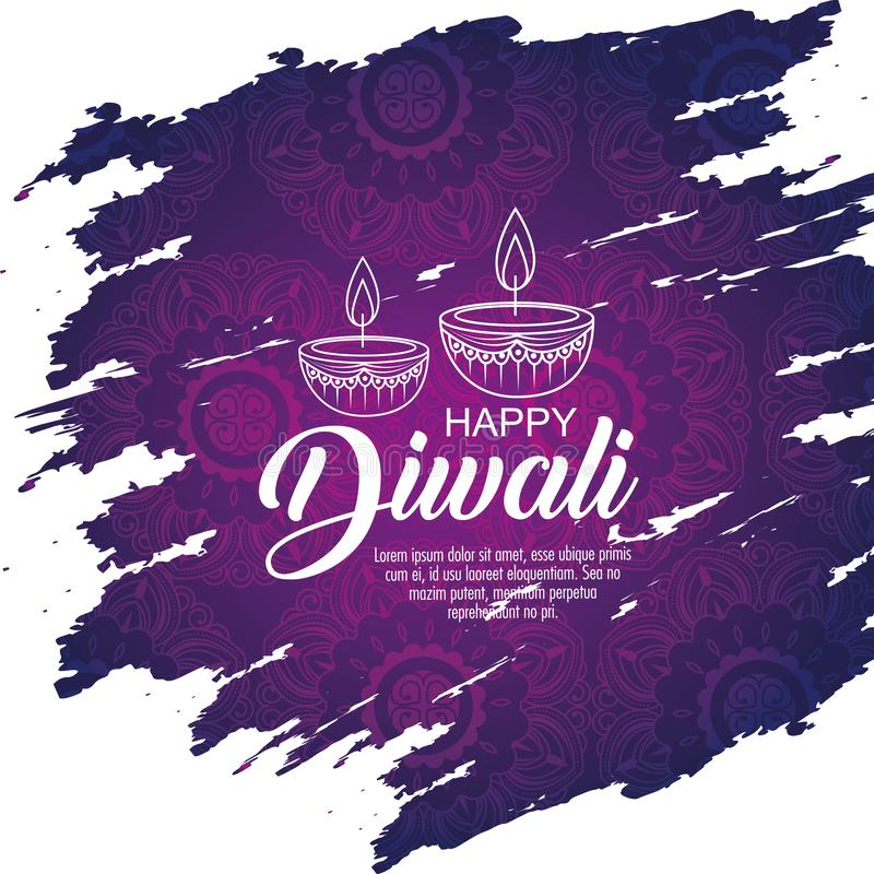 Decoração das velas de Diwali para iluminar o festival ilustração stock