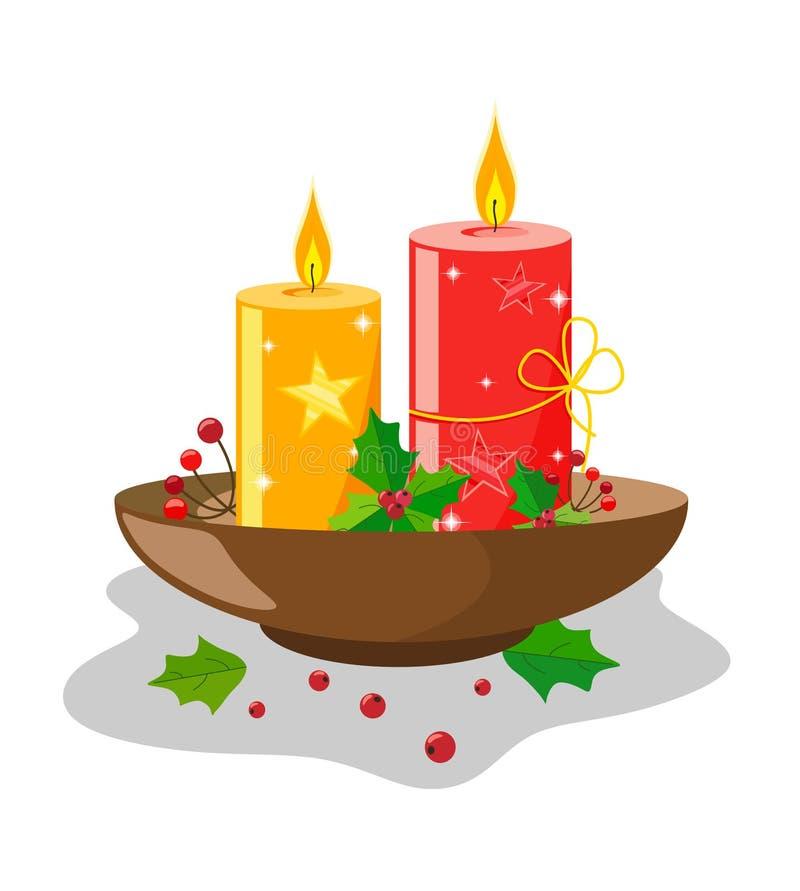 Decoração das velas pelo Natal e o ano novo em um suporte com folhas e bagas do azevinho Com estrelas e luminosidade ilustração royalty free