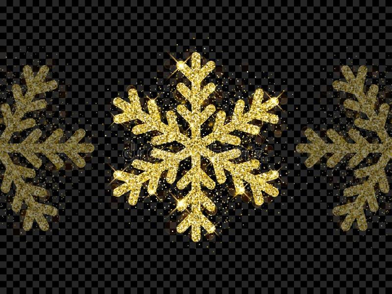 Decoração de brilho dourada do floco de neve do Natal do brilho da luz do brilho do ouro no fundo transparente preto Fulgor dos s ilustração stock
