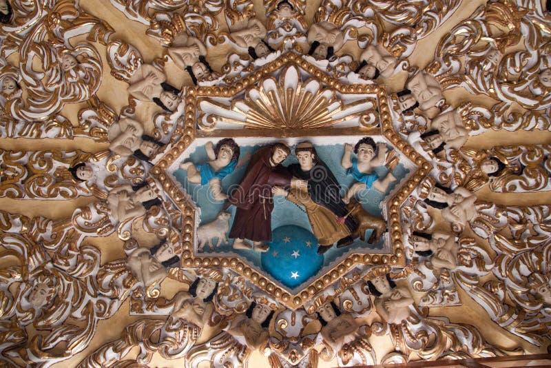 Decoração de interiores da igreja em Cholula Puebla fotografia de stock