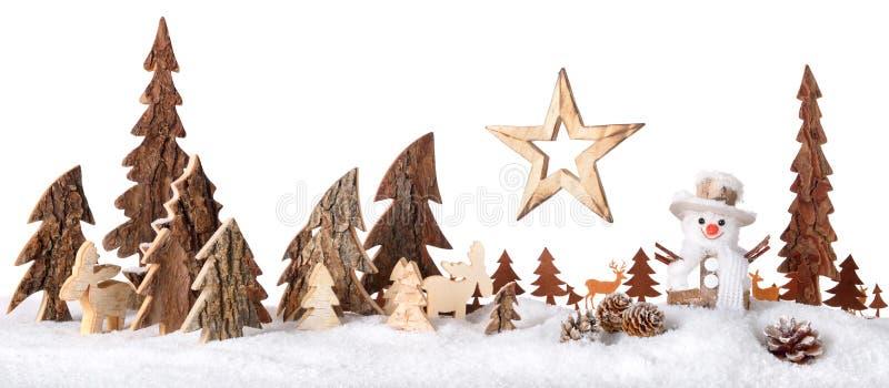 Decoração de madeira como uma cena bonito do inverno imagem de stock royalty free