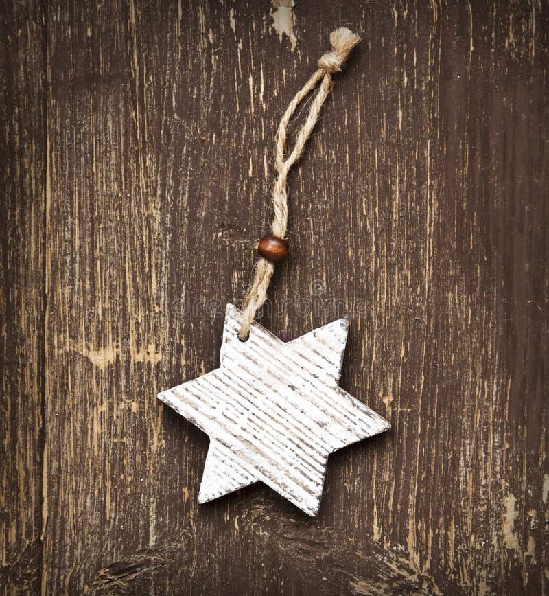 Decoração de madeira do Natal da estrela do vintage fotografia de stock