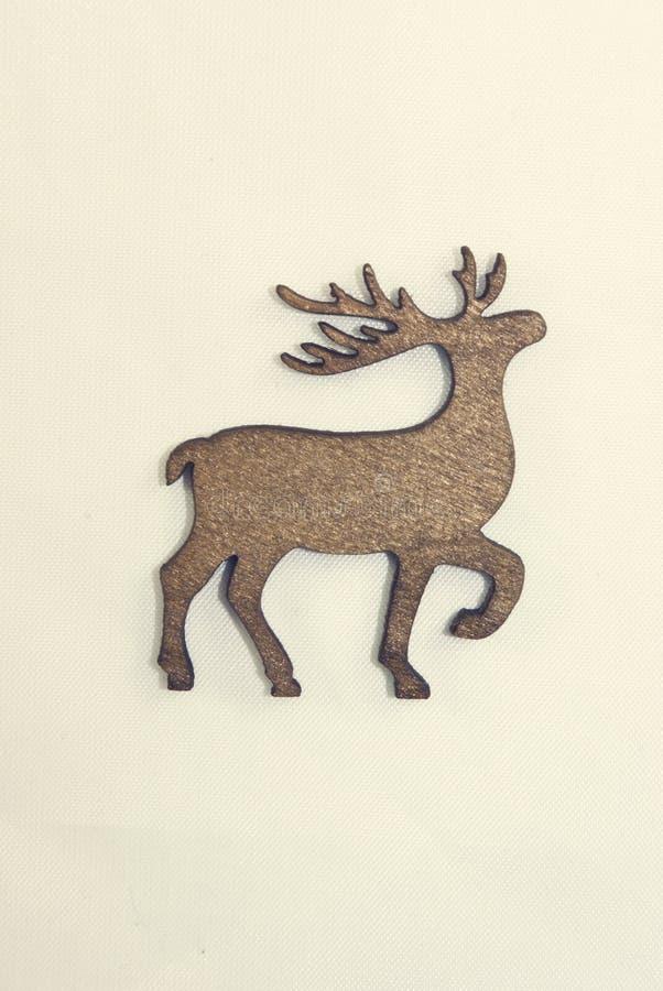 Decoração de madeira do Natal dos cervos do vintage fotografia de stock royalty free