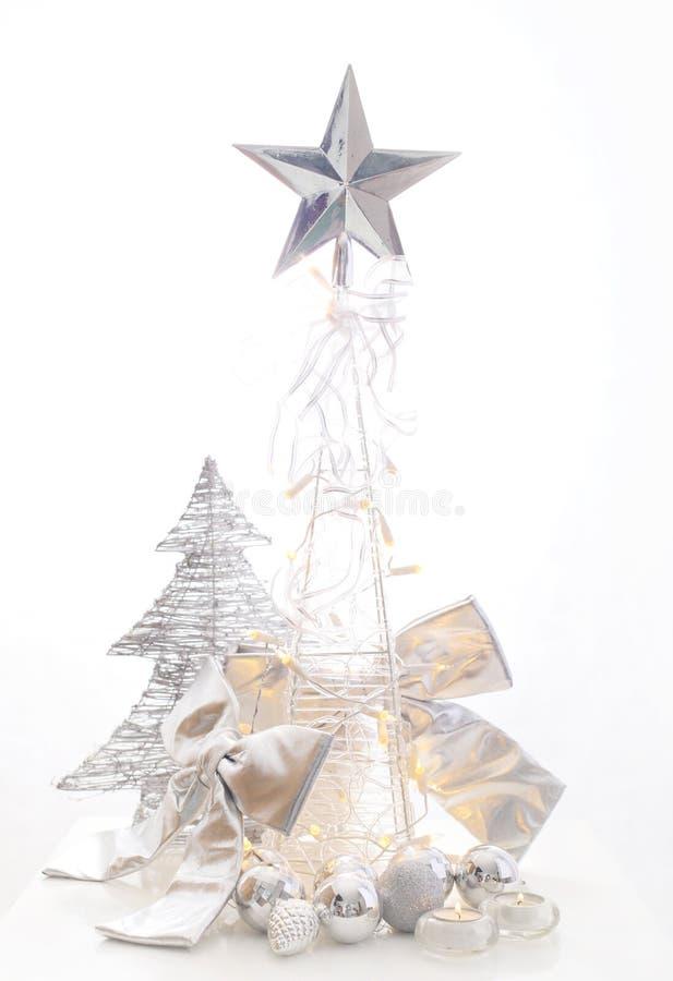 Decoração de prata do Natal imagens de stock