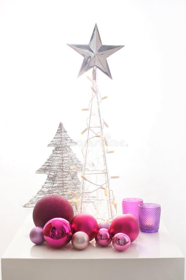 Decoração de prata do Natal imagens de stock royalty free
