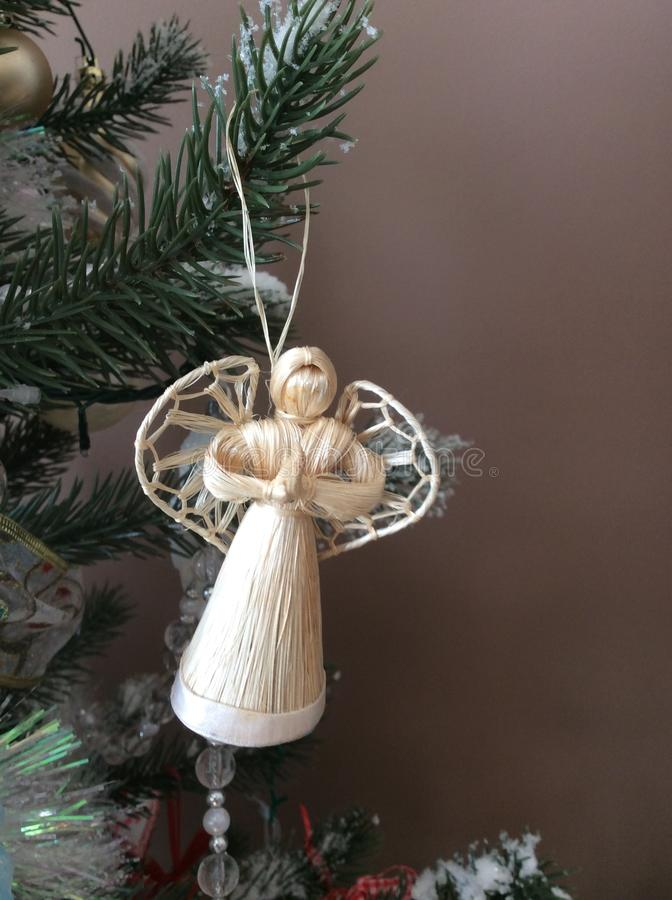 Decoração do anjo do vime do Natal fotografia de stock