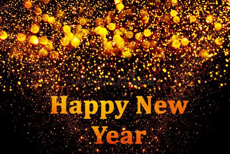 Decoração do ano novo, close up em fundos dourados imagem de stock