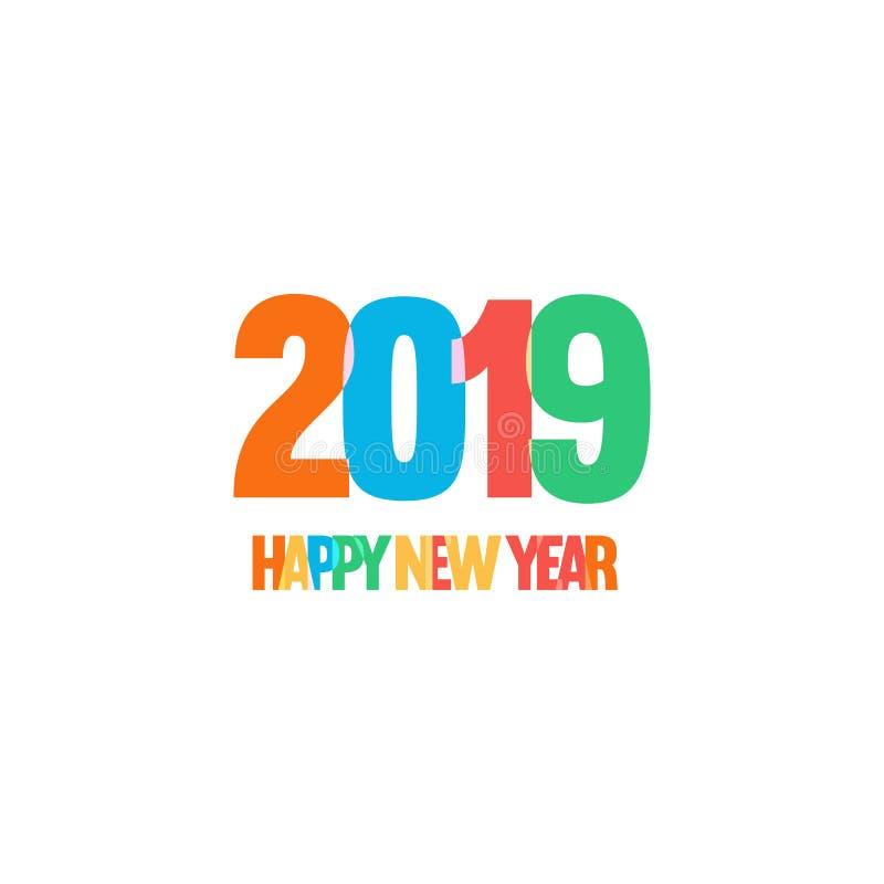 Decoração do ano novo da celebração das crianças Divertimento e logotipo engraçado do vetor do estilo Projeto simples, cores bril ilustração royalty free