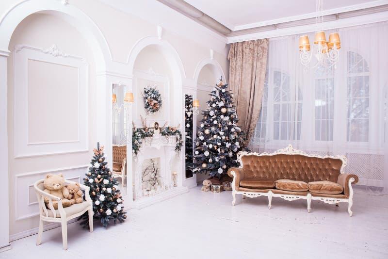 Decoração do ano novo e do Natal do inverno no salão clássico imagem de stock