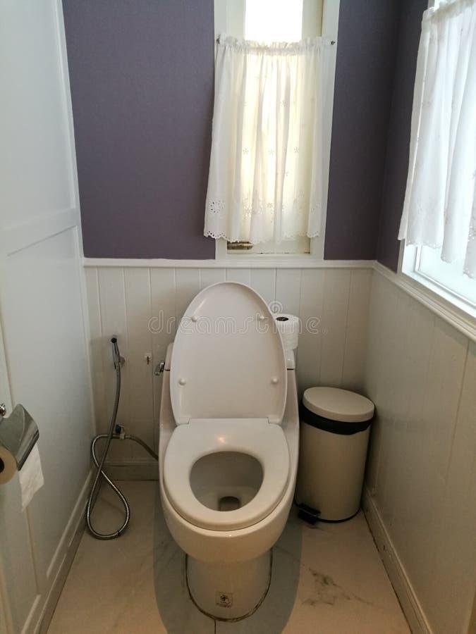 Decoração do assento da sanita no interior do banheiro Bacia de toalete branca, rolo de A da suspensão de papel higiênico branca  imagens de stock royalty free