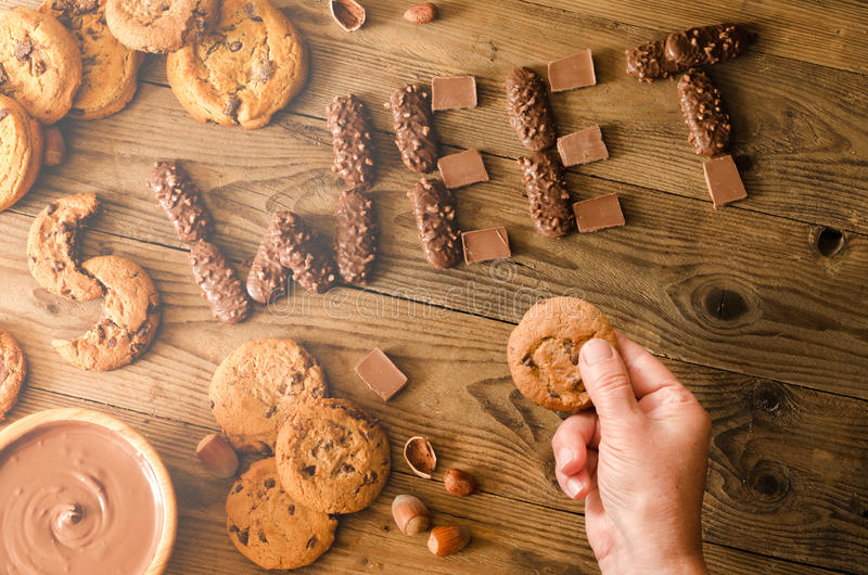 Decoração do chocolate e das cookies imagem de stock