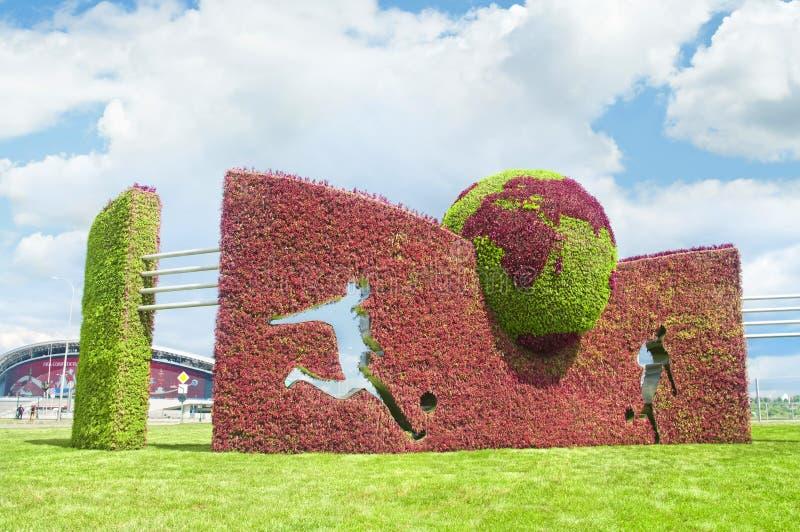 Decoração do estádio da arena de Kazan durante o copo das confederações de FIFA foto de stock royalty free
