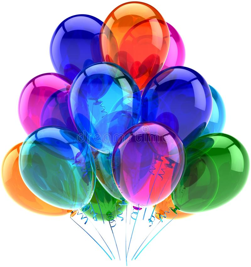 Decoração do feliz aniversario do partido dos balões colorida ilustração royalty free