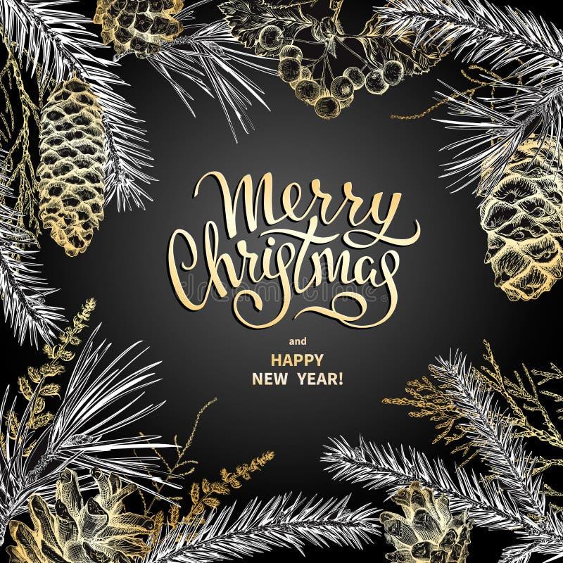 Decoração 2019 do Feliz Natal ilustração stock
