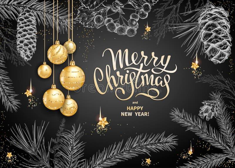 Decoração 2019 do Feliz Natal ilustração do vetor
