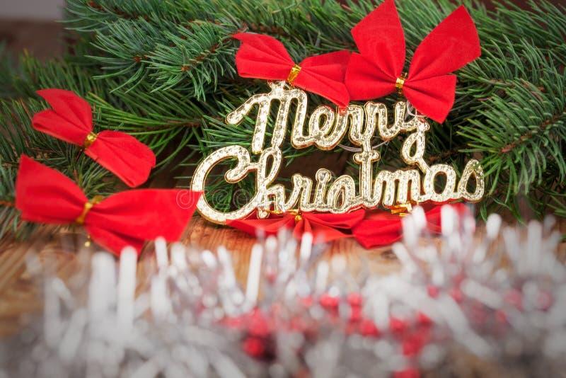 Decoração do feriado com Feliz Natal foto de stock
