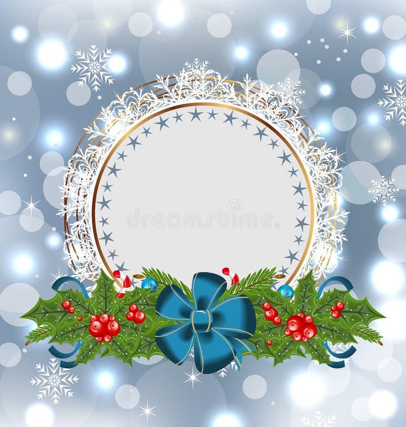 Decoração do feriado do Natal com cartão ilustração stock