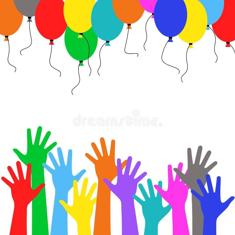 Decoração do feriado - povos multicoloridos da mão que correm balões coloridos ilustração royalty free