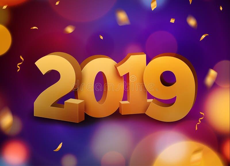 Decoração 2019 do fundo do ano novo feliz Confetes do molde 2019 do projeto de cartão Ilustração do vetor da data 2019 anos ilustração royalty free