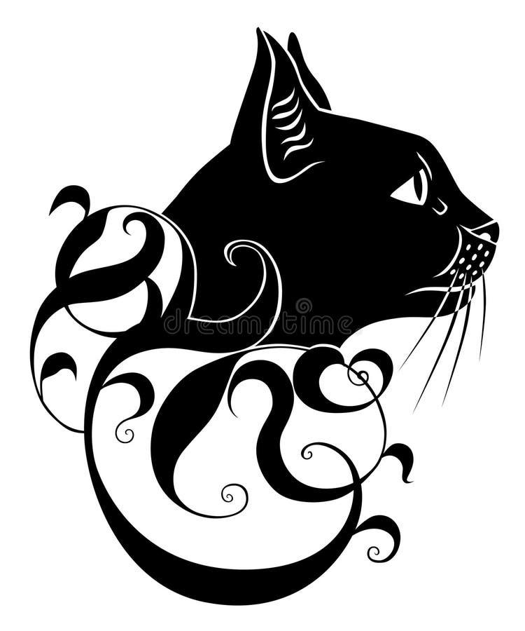 Decoração do gato preto ilustração do vetor