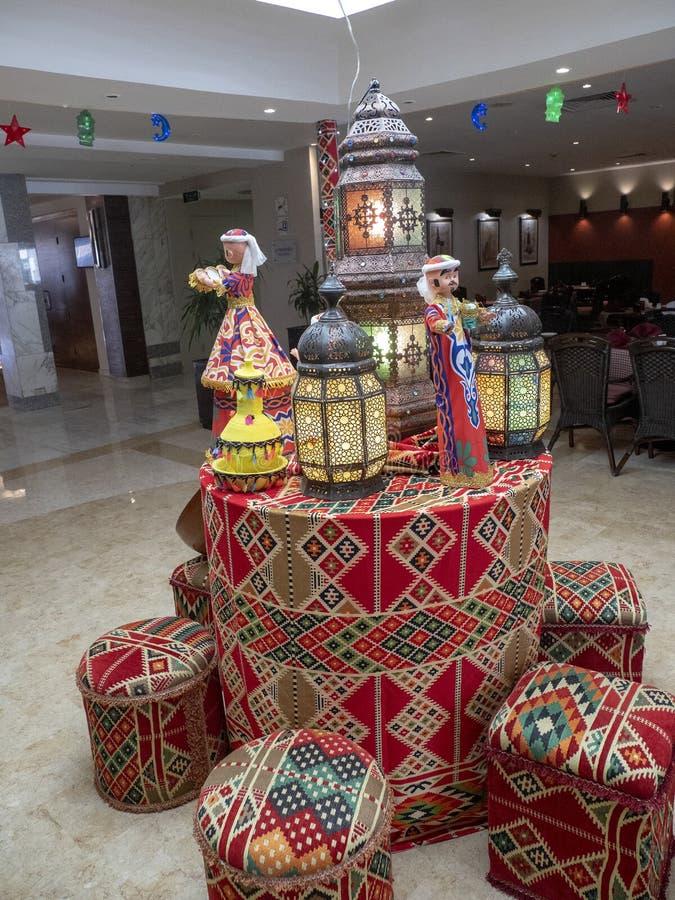 Decoração do lóbi do hotel, Cairo Egito foto de stock