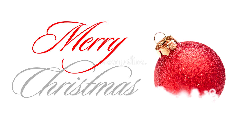 Decoração do Natal com a bola vermelha na neve no fundo branco ano novo feliz 2007 imagem de stock