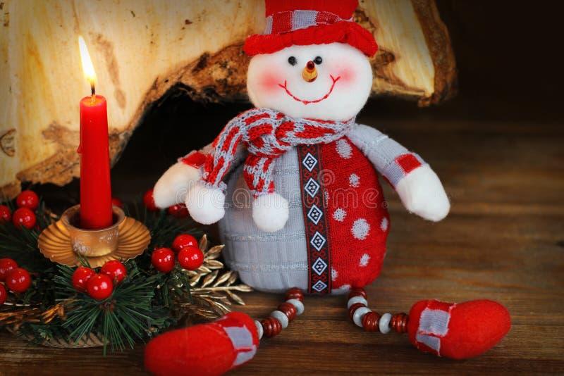 Decoração do Natal com boneco de neve fotos de stock