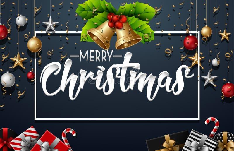 Decoração do Natal com elementos e confetes do ouro no fundo preto ilustração royalty free