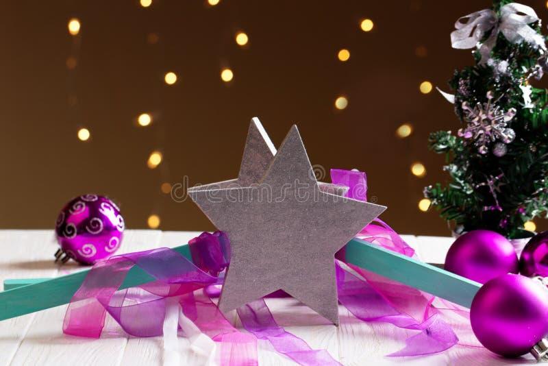 Decoração do Natal com estrelas Estrelas do Natal foto de stock