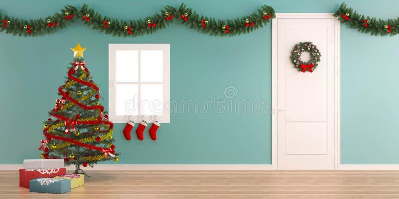 Decoração do Natal com fundo interior-X'mas da caixa de presente fotos de stock royalty free