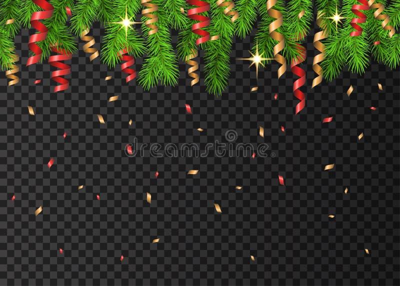 Decoração do Natal com o serpenti spruce do ramo, o vermelho e o dourado ilustração stock