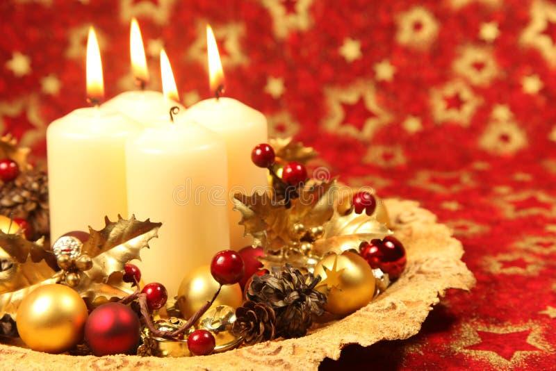 Decoração do Natal com velas foto de stock royalty free