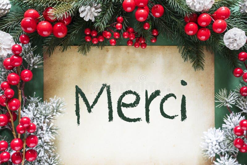 A decoração do Natal como o ramo de árvore do abeto, meios de Merci agradece-lhe foto de stock royalty free