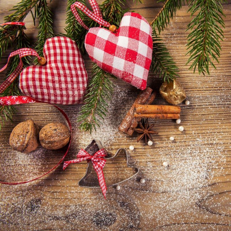 Decoração do Natal, compilação idílico, o fundo de madeira foto de stock